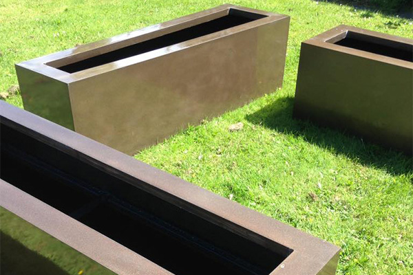 planters on grass